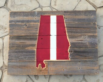 """Alabama, Dark Red / Crimson and White (28"""" X 20""""), Rustic Reclaimed, Man Cave, Home Decor"""