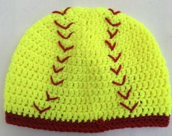 Softball Beanie/ Softball Knit Hat: Preemie to Adult Sizes