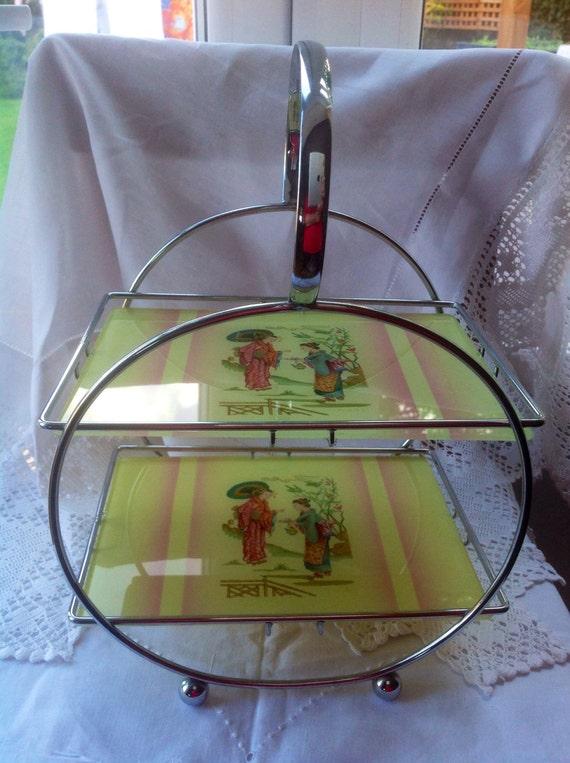 Art Deco Chrome Cake Stand : Rare Art Deco Glass and Chrome Cake Stand 2 Tiers with
