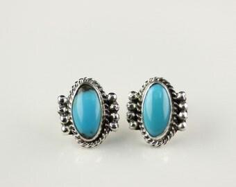 Native American Handmade Sterling Silver Turquoise Post Earrings