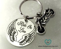 Cremation motorcycle rider urn keychain for ashes,  ashes jewelry • Biker keychain, cremation jewelry / biker memorial  wings