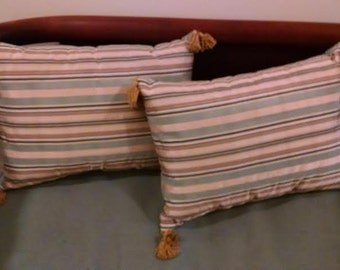 Handmade Pillows - Teal/Gold/Black/Brown Striped with Double Tasseled Corners, Square  (30113)
