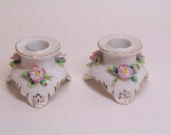 vintage hand painted porcelain candle holders made in Japan, set of two