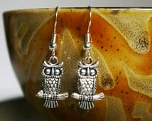 FREE Shipping! Owl Earrings with Hypo-allergenic Ear Wires   Owl Earrings   Pewter Owl Earrings   Owl Gift   Gift for Her   Owl Jewelry Gift