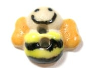 """Mini Ceramic BEE Button, Handmade Happy bumble bee, 1/2"""", insect."""