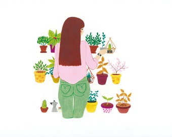 Poster A3 - woman plants