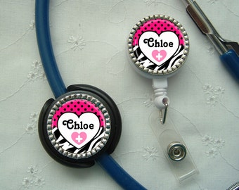 Personalized Stethoscope ID Tag & ID Reel Combo
