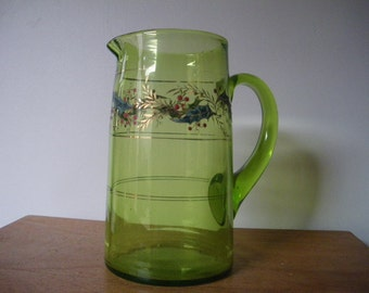 french/art nouveau pitcher/ouraline/uranium ?/ enamleware Lily of the valley/  1920s/