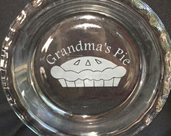 Grandma's Pie~ Easy Grab Glass Pyrex Pie Plate