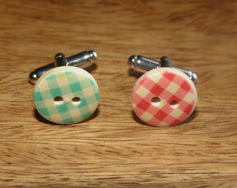 Button Cufflinks, Vintage cufflinks, colourful cufflinks,  Wedding cufflinks, Mens Birthday Gifts