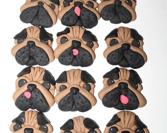 12x Edible Pug Dog Fondant Cupcake Toppers