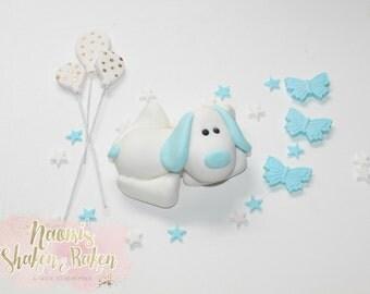 1x Edible Boy Plush Puppy Dog Balloon Fondant Cake Topper Set 7-9cm