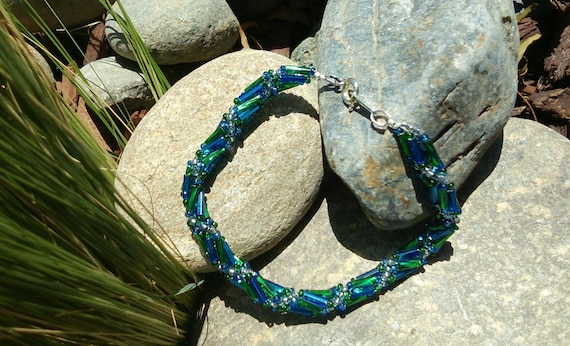 Swirled Multi Straned Silver Lined Blue and Green Tube czech Glass Beaded Bracelet