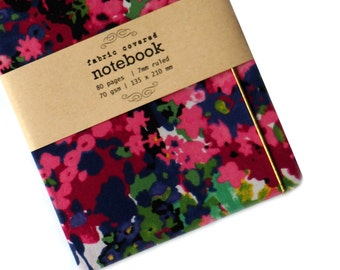 Floral Watercolor  Fabric Covered Notebook