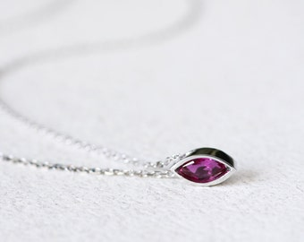 Ruby Necklace 925 Sterling Silver Genuine Red Ruby Tiny Charm Modern Jewelry July Birthstone