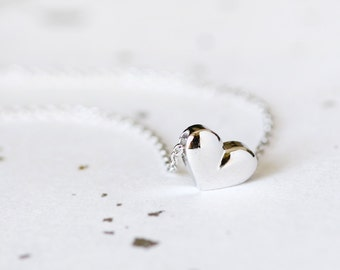 Solid Heart Necklace 925 Sterling Silver Tiny Heart Dainty Pendant