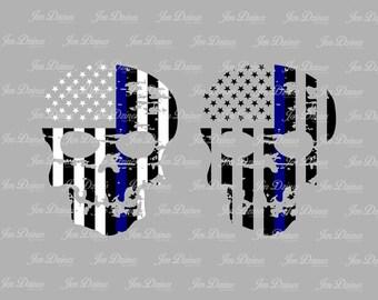 Blue Line Distressed Skull, SVG DXF EPS , Skull Design, skull svg file, svg file for Cricut, Silhouette svg, cutting file,distressed skull