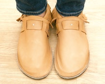 Handmade Leather Adult Moccasin - Studded Strap
