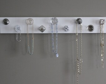 Jewelry organizer, knob necklace holder, jewlery holder, hanging jewlery wall decor, shabby chic, vintage, silver and crystal, organize