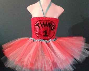 Thing 1 (Dr Seuss) inspired dress 4/6