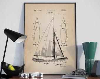 Sailboat Wall Art sailboat blueprint | etsy