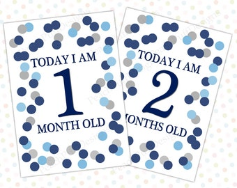 Baby milestone cards Navy and Silver (INSTANT DOWNLOAD) - Babys first year - Baby photo prop - Baby photography props