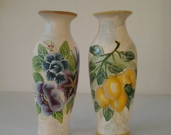 two beautiful vases / hand painted vases / flower vases