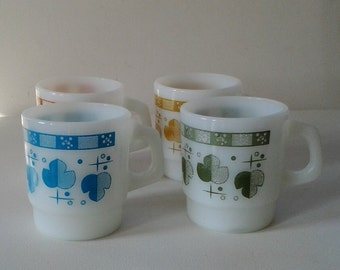 Set of four Fire-King mugs / Colourful Anchor Hocking mugs / Four Fire King Mugs