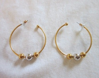 Vintage Large Silver and Gold Ball Hoop Pierced Earrings