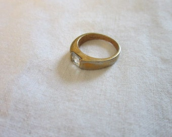 Vintage Gold Plated Solitaire Faux Diamond Ring