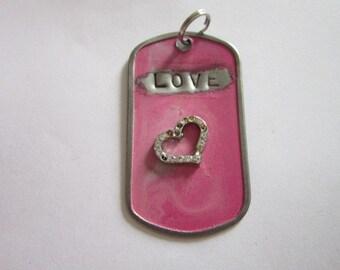 Vintage Retro Pink Dog Tag Love Necklace Pendant Wild