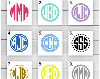 Circle Monogram Decal // Monogram Decal // Arrow Monogram // Yeti Monogram // Tumbler Monogram // Laptop Monogram // Car Monogram