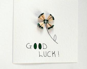 Handmade Colouring Pencil Card (Good Luck Clover)