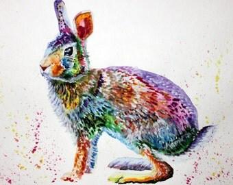 Hare Bunny Rabbit Watercolor Painting Art Print Animal Illustration Hare art,rabbit watercolor painting ,animal watercolor