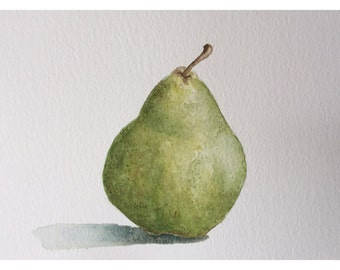 Pear art in watercolor - kitchen art pear - watercolor art - still life pear
