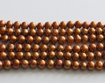 Freshwater Pearl String. Copper. 6 - 8mm Potato Pearls. Length Approx 40cm