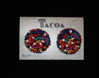 Vintage Tacoa colorful Seed Bead Clip on Style Earrings