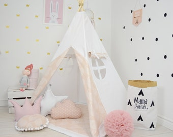 Kids Teepee, Kids Play Teepee, Tipi, Childrens Teepee Play Teepee, Kids Teepee Play Tent, Teepee, Wigwam,  Zelt -Soft pink[set with pillows]