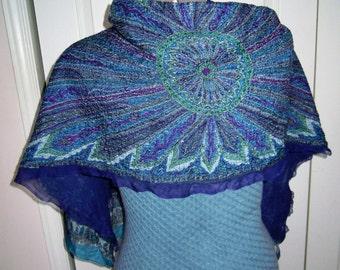 Handmade fine merino wool, pure silk scarf. Nunofelt. Blue, purple, white.