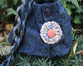 Crossbody handbag, Big Demin bag, Large Denim Purse, Resycled jeans handbag, Flower Bag, Hippie handbag