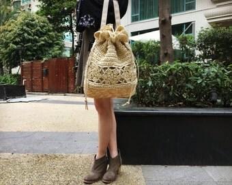 FREE SHIPPING WORLDWIDE,Paper Yarn Crochet backpack,Handknit Backpack,Drawstring Backpack,Drawstring Bucket Bag
