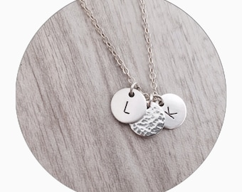Personalised Triple Charm Necklace | Initial Sterling Silver Charm Necklace | Initial Necklace | Charm Necklace  | Handstamped Necklace