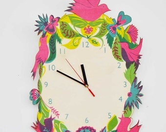 Hand Screen Printed Birchwood Laser Cut Colourful Coco Clock