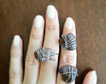 Grey Stone boho  ring/ stackable ring/ boho stone ring/ boho wire wrapped ring/ wire wrapped ring/silver ring/hippie ring/hippie silver ring