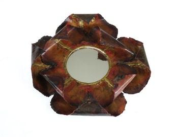 Vintage Wall Mirror - Forged Copper Mirror - Metal Mirror - Flower  Mirror - Rustic Decor