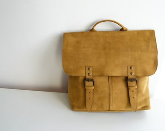 Vintage Style Leather Messenger Backpack Mustard Yellow
