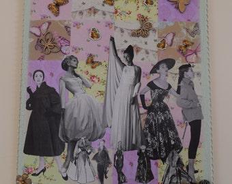 Mixed media collage art, Vintage fashion theme, shabby chic decor wall art