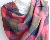 Large Plaid Scarf.Soft Autumn Scarf.Winter Scarves.Pink/Green/Blue Plaid Scarf.Pashmina Scarf.Oversized Tartan Scarf.Check Blanket Scarf