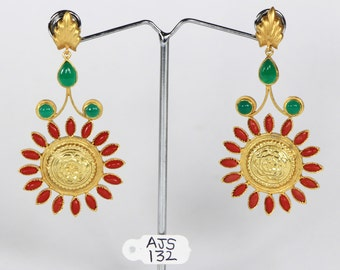 Bollywood style Multicolor Women Dangle Earrings .925Sterling Silver with 18ktGoldMicron Plating with Coral Green Gemstone