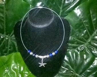 Silver Starfish~Seastar~ blue choker necklace